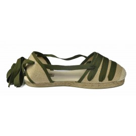 Espadrille Yute 3 strips rustic green